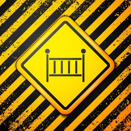 Black Baby crib cradle bed icon isolated on yellow background. Warning sign. Vector Vektoros illusztráció