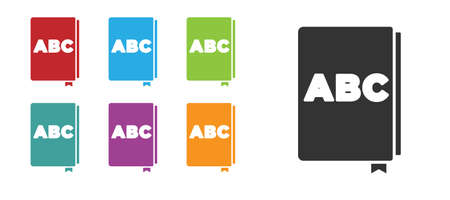 Black ABC book icon isolated on white background. Dictionary book sign. Alphabet book icon. Set icons colorful. Vector 向量圖像