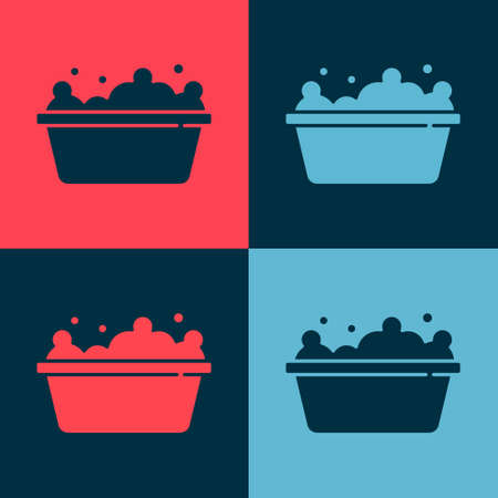 Pop art Baby bathtub with foam bubbles inside icon isolated on color background. Vector