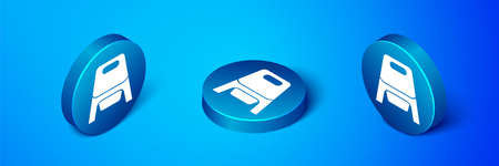 Isometric Baby potty icon isolated on blue background. Chamber pot. Blue circle button. Vector