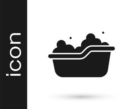 Black Baby bathtub with foam bubbles inside icon isolated on white background. Vector