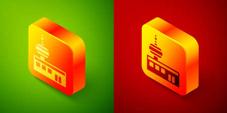 Isometric Airport control tower icon isolated on green and red background. Square button. Vector