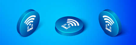 Isometric Router and wifi signal icon isolated on blue background. Wireless internet modem router. Computer technology internet. Blue circle button. Vector