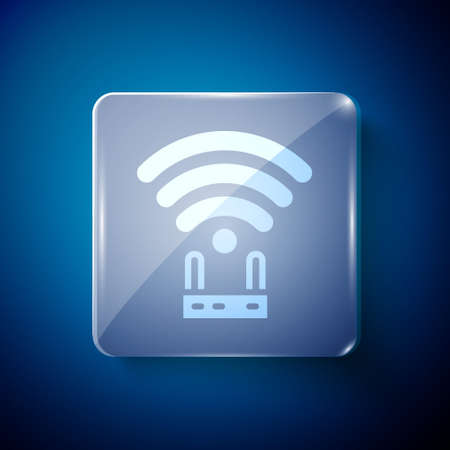 White Router and wifi signal icon isolated on blue background. Wireless internet modem router. Computer technology internet. Square glass panels. Vector