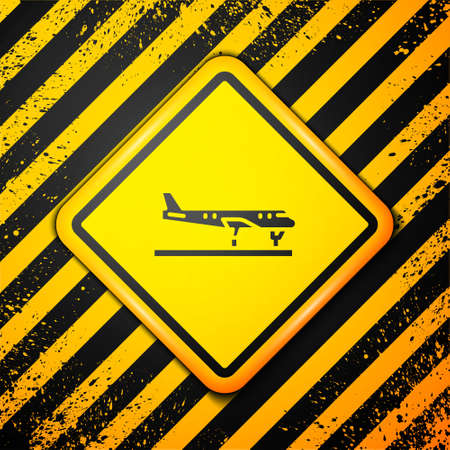 Black Plane icon isolated on yellow background. Flying airplane icon. Airliner sign. Warning sign. Vector