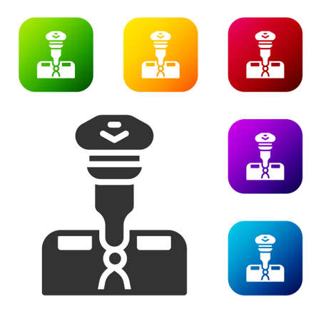 Black Pilot icon isolated on white background. Set icons in color square buttons. Vector