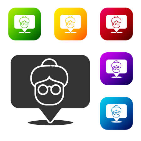 Black Nursing home building icon isolated on white background. Health care for old and sick people. Center for retired people. Set icons in color square buttons. Vector