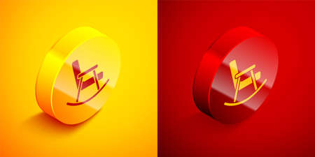 Isometric Rocking chair icon isolated on orange and red background. Circle button. Vector