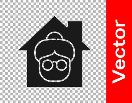 Black Nursing home building icon isolated on transparent background. Health care for old and sick people. Center for retired people. Vector