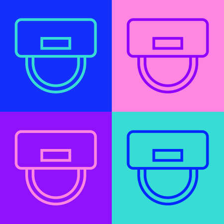 Pop art line Bellboy hat icon isolated on color background. Hotel resort service symbol. Vector
