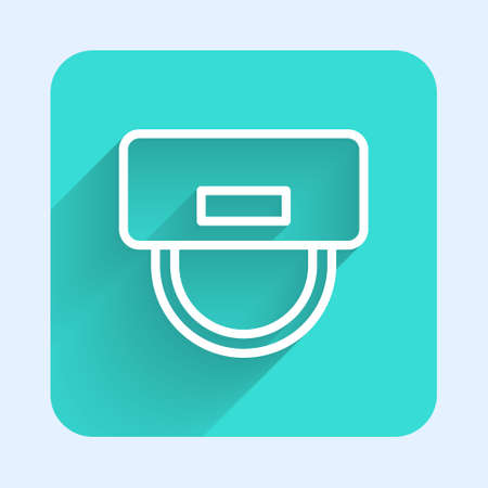 White line Bellboy hat icon isolated with long shadow. Hotel resort service symbol. Green square button. Vector