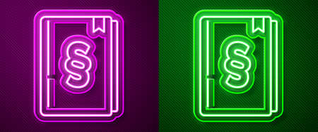 Glowing neon line Law book icon isolated on purple and green background. Legal judge book. Judgment concept. Vector
