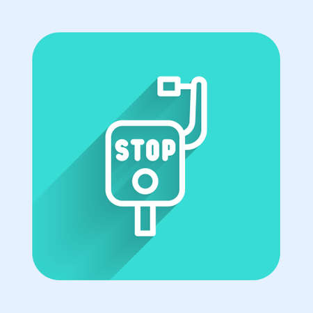 White line Emergency brake icon isolated with long shadow. Green square button. Vector