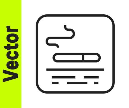 Black line Smoking area icon isolated on white background. Vector Illusztráció