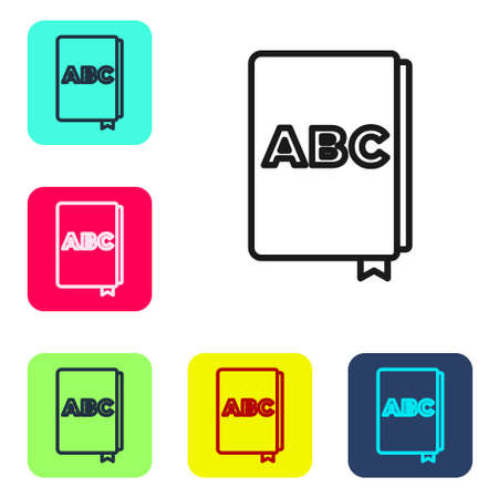 Black line ABC book icon isolated on white background. Dictionary book sign. Alphabet book icon. Set icons in color square buttons. Vector 向量圖像