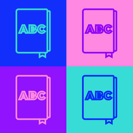 Pop art line ABC book icon isolated on color background. Dictionary book sign. Alphabet book icon. Vector