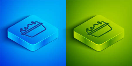 Isometric line Baby bathtub with foam bubbles inside icon isolated on blue and green background. Square button. Vector Иллюстрация