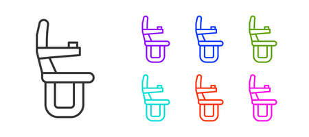 Black line Airplane seat icon isolated on white background. Set icons colorful. Vector