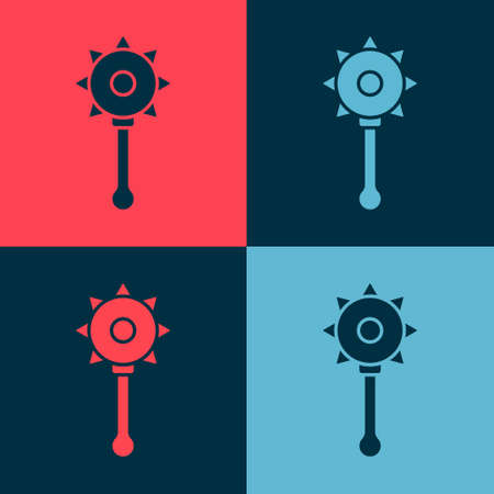 Pop art Medieval chained mace ball icon isolated on color background. Medieval weapon. Vector