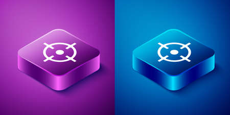 Isometric Target sport icon isolated on blue and purple background. Clean target with numbers for shooting range or shooting. Square button. Vector Ilustração