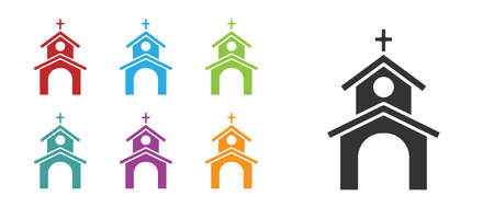 Black Church building icon isolated on white background. Christian Church. Religion of church. Set icons colorful. Vector Çizim