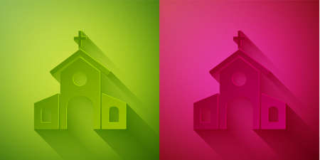 Paper cut Church building icon isolated on green and pink background. Christian Church. Religion of church. Paper art style. Vector