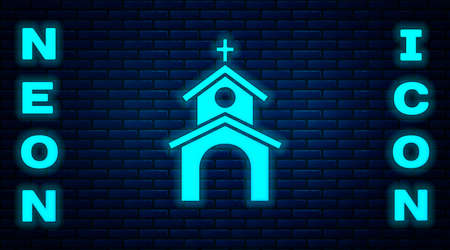 Glowing neon Church building icon isolated on brick wall background. Christian Church. Religion of church. Vector