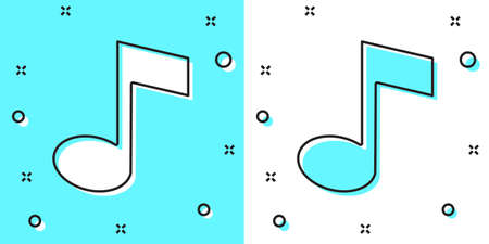 Black line Music note, tone icon isolated on green and white background. Random dynamic shapes. Vector