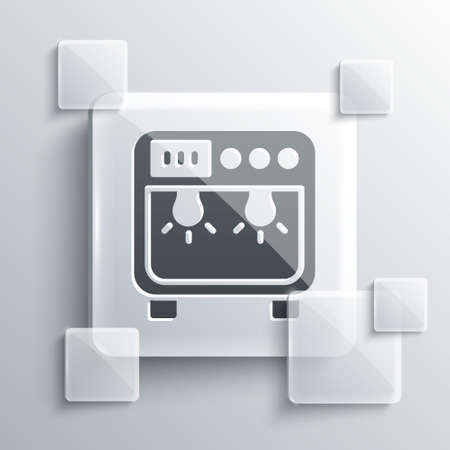 Grey Biosafety box icon isolated on grey background. Square glass panels. Vector Illustration