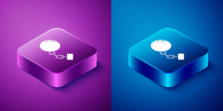Isometric Ball on chain icon isolated on blue and purple background. Square button. Vector