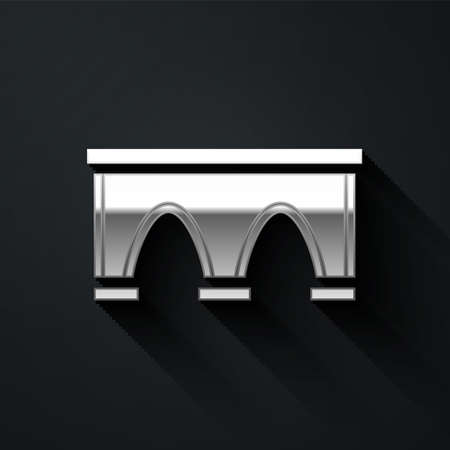 Silver Bridge for train icon isolated on black background. Long shadow style. Vector