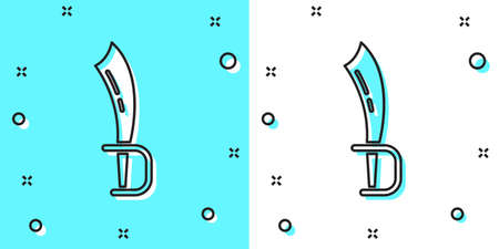 Black line Pirate sword icon isolated on green and white background. Sabre sign. Random dynamic shapes. Vector