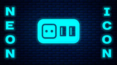 Glowing neon Electrical outlet icon isolated on brick wall background. Power socket. Rosette symbol. Vector