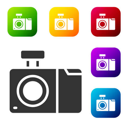 Black Photo camera icon isolated on white background. Foto camera icon. Set icons in color square buttons. Vector