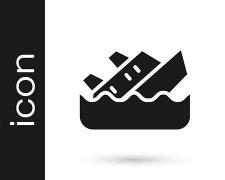 Black Sinking cruise ship icon isolated on white background. Travel tourism nautical transport. Voyage passenger ship, cruise liner. Vector Vettoriali