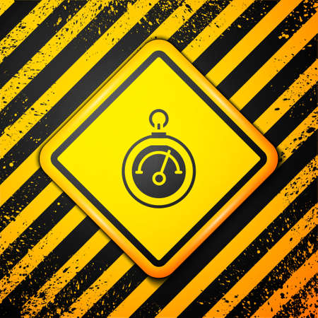 Black Barometer icon isolated on yellow background. Warning sign. Vector