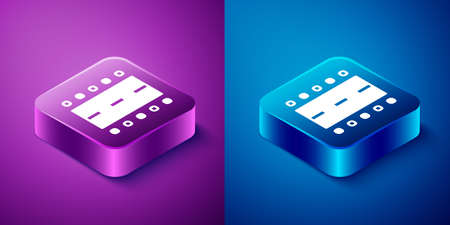 Isometric Airport runway for taking off and landing aircrafts icon isolated on blue and purple background. Square button. Vector