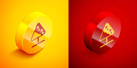 Isometric Road sign avalanches icon isolated on orange and red background. Snowslide or snowslip rapid flow of snow down a sloping surface. Circle button. Vector