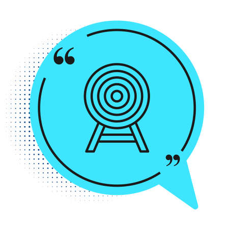 Black line Target with arrow icon isolated on white background. Dart board sign. Archery board icon. Dartboard sign. Business goal concept. Blue speech bubble symbol. Vector Ilustração