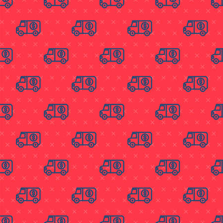 Blue line Armored truck icon isolated seamless pattern on red background. Vector