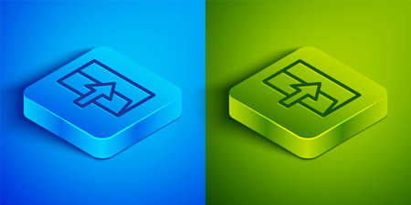 Isometric line Fire exit icon isolated on blue and green background. Fire emergency icon. Square button. Vector