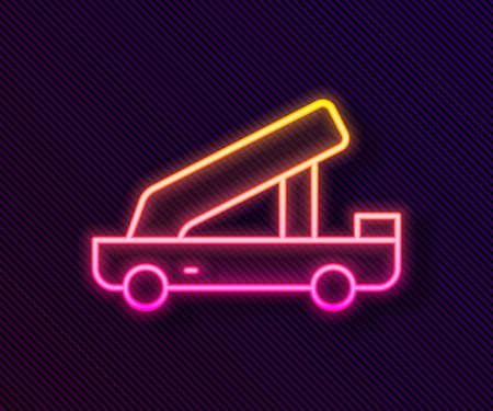 Glowing neon line Passenger ladder for plane boarding icon isolated on black background. Airport stair travel. Vector