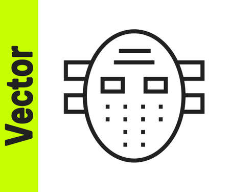 Black line Hockey mask icon isolated on white background. Vector Illusztráció