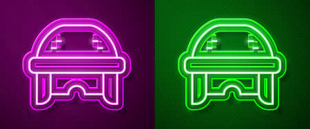 Glowing neon line Hockey helmet icon isolated on purple and green background. Vector