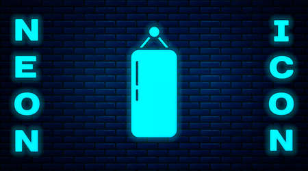 Glowing neon Punching bag icon isolated on brick wall background. Vector Illustration