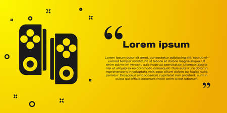 Black Gamepad icon isolated on yellow background. Game controller. Vector Illustration