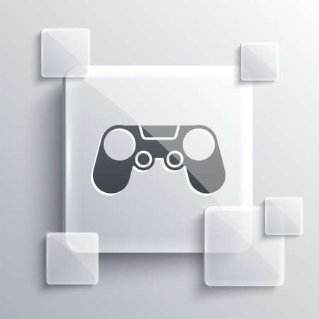 Grey Gamepad icon isolated on grey background. Game controller. Square glass panels. Vector Illustration