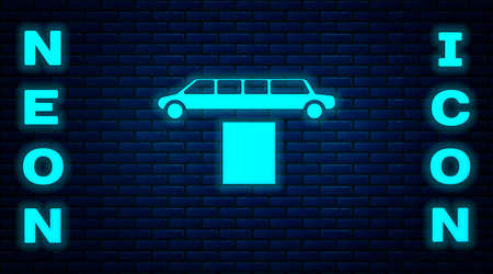 Glowing neon Luxury limousine car and carpet icon isolated on brick wall background. For world premiere celebrities and guests poster. Vector Illustration
