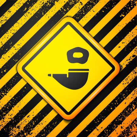Black Smoking pipe with smoke icon isolated on yellow background. Tobacco pipe. Warning sign. Vector
