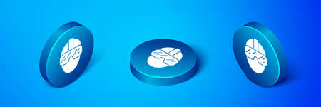 Isometric Special forces soldier icon isolated on blue background. Army and police symbol of defense. Blue circle button. Vector